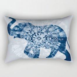 Elephant Mandala Indigo Blue Tie Dye Rectangular Pillow