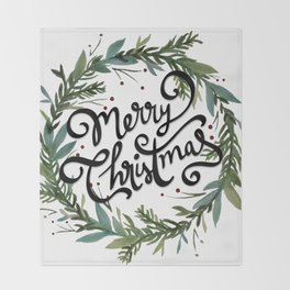 Merry Christmas Wreath Throw Blanket
