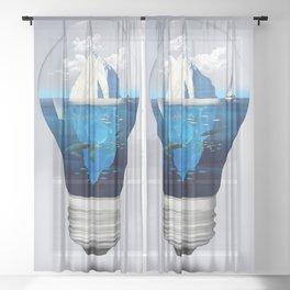 Iceburg in a Light Bulb Sheer Curtain