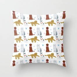 Dogs and paw-prints pattern Throw Pillow