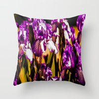 iris Throw Pillows featuring Iris by Faded  Photos