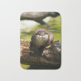 Otter on A Tree Trunk Bath Mat