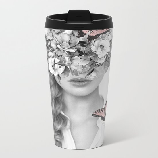 woman with flowers and butterflies 9a Metal Travel Mug