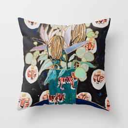Dark Floral Still Life with Banksia Pods and Tigers Throw Pillow