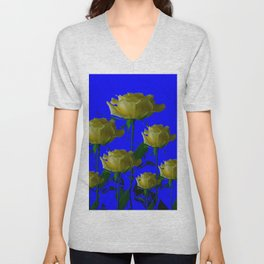 IVORY WHITE LONG STEMMED ROSES ON BLUE Unisex V-Neck