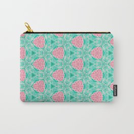 Millennial Pink Chenille and Mint Anchor  Pattern Carry-All Pouch