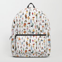 colorful set of people illustration - children drawing, kids pattern  sketch design Backpack