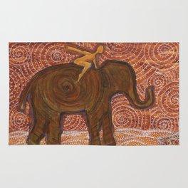 Flying Girl Receives Assistance on the Long Journey, or Elephant Spirit Rug