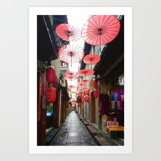 Asia in Red Art Print