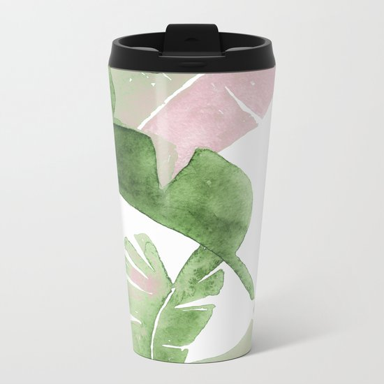 Tropical Leaves Green And Pink Metal Travel Mug
