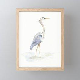Heron Facing Right Framed Mini Art Print
