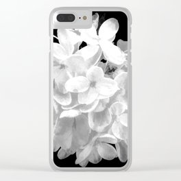 """Hydrangea """"SnowBall"""" In Black And White Clear iPhone Case"""