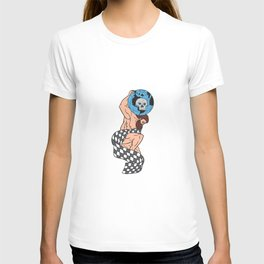 Atlas Lifting Globe Skull Checkered Flag Drawing T-shirt