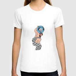 Atlas Lifting Globe Skull Checkered Flag Drawing T-shirt