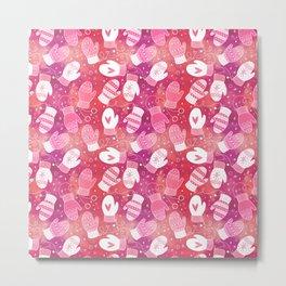 Winter Mittens Pink & Red Metal Print