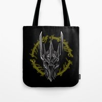 middle earth Tote Bags featuring The Dark Lord of middle Earth by ddjvigo