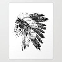 native american Art Prints featuring Native American by Motohiro NEZU