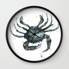 Crab, nautical art, seashore creatures, crab watercolor, natural crab painting, crab pillows,  Wall Clock