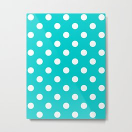 Polka Dots - White on Cyan Metal Print