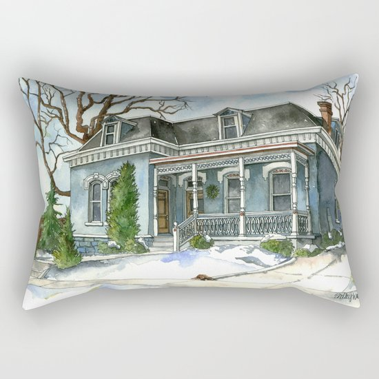 A Cozy Winter Cottage Rectangular Pillow