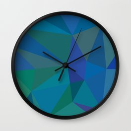Blue low poly background Wall Clock