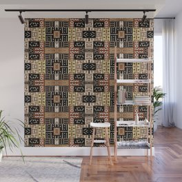 Runic Carved Wood Effect Tribal Pattern Wall Mural