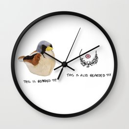 2 Types of Bearded Tits Wall Clock