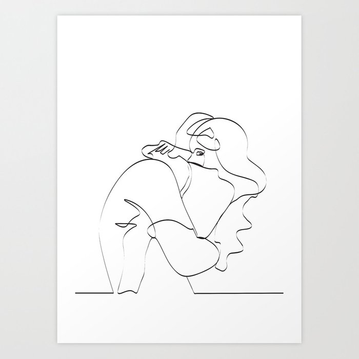 Couple Continuous Line Draw Art Print By Draw4you Society6