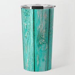 Mint Blue Beach Wood Texture Travel Mug
