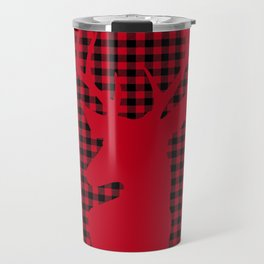 Red Plaid Deer Stag Design Travel Mug