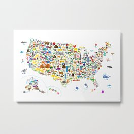 Animal Map of United States for children and kids Metal Print