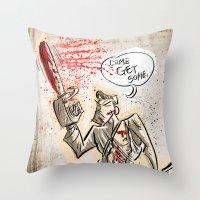 evil dead Throw Pillows featuring Ash from The Evil Dead by Joe Badon
