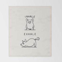 Inhale Exhale Pig Throw Blanket