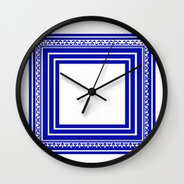 Blue and White Lines Geometric Abstract Pattern Wall Clock