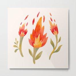 Flaming Flowers Metal Print