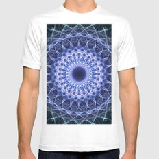Blue cold mandala Mens Fitted Tee MEDIUM White