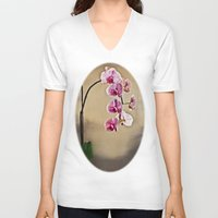 orchid V-neck T-shirts featuring Orchid by Misspeden