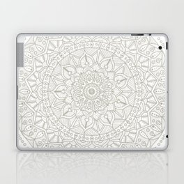 Gray Circle of Life Mandala on White Laptop & iPad Skin