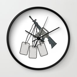 M4 Carbine Dog Tags Hanging Drawing Wall Clock