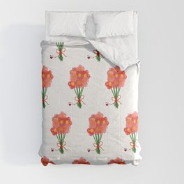 Pink Flower Bouquet for Valentines Day Comforters