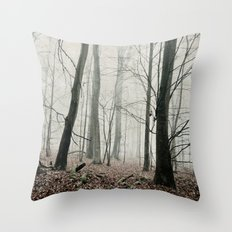 bare trees in fog Throw Pillow