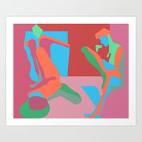 nudes Art Prints featuring three nudes by design lunatic