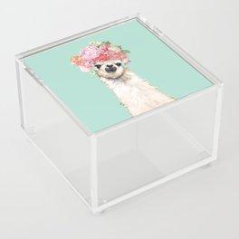 Llama with Flowers Crown #3 Acrylic Box