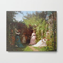 Hollyhocks 1876 By Eastman Johnson | Reproduction Metal Print