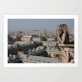 Gargoyle staring at Paris Art Print