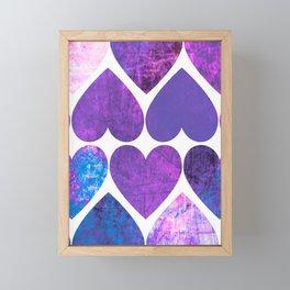 Mod Purple & Blue Grungy Hearts Design Framed Mini Art Print