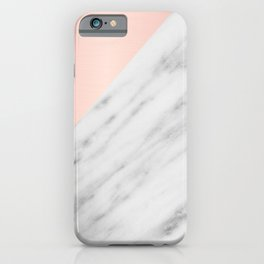Real Carrara Italian Marble and Pink iPhone Case