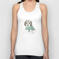 puppy Tank Tops featuring puppy by maria elina