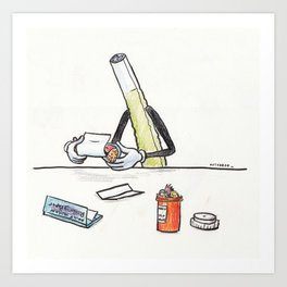 A Joint Rolling a Human Art Print