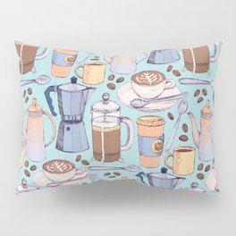 Coffee Love on Blue Pillow Sham